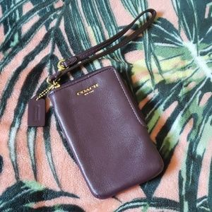 COACH Purple Leather Wallet Wristlet